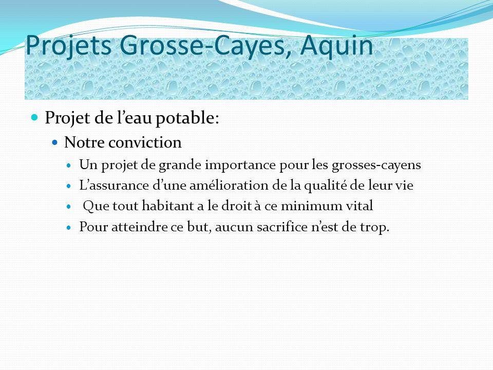 Projets Grosse-Cayes, Aquin Projet de leau potable: Notre conviction Un projet de grande importance pour les grosses-cayens Lassurance dune améliorati