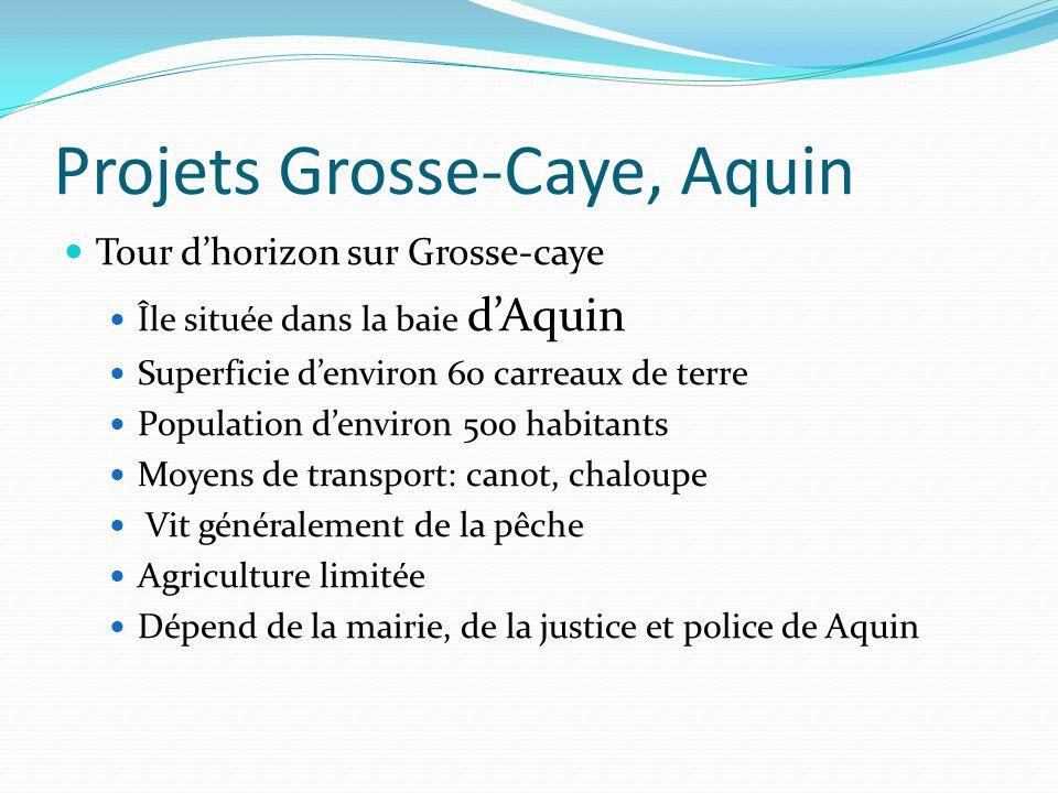 Projets Grosse-Caye, Aquin Tour dhorizon sur Grosse-caye Île située dans la baie dAquin Superficie denviron 60 carreaux de terre Population denviron 5