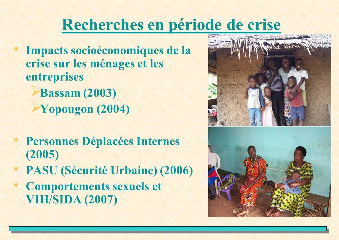 Recherches en période de crise Impacts socioéconomiques de la crise sur les ménages et les entreprises Bassam (2003) Yopougon (2004) Personnes Déplacé