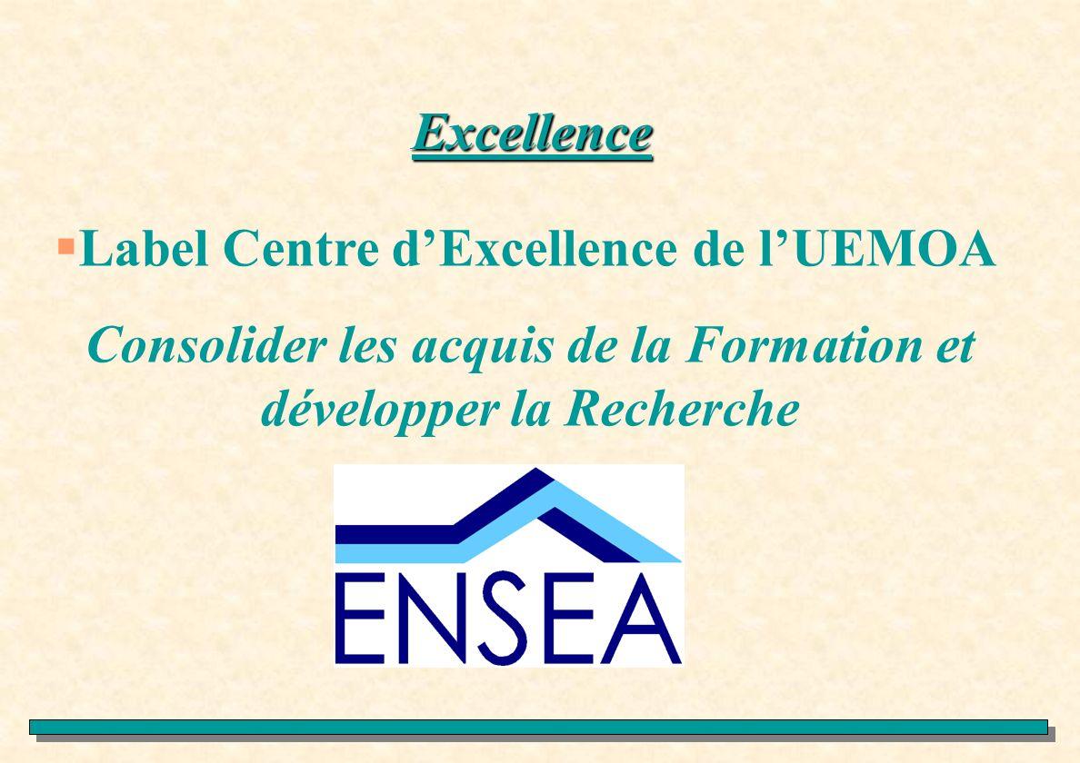 Excellence Label Centre dExcellence de lUEMOA Consolider les acquis de la Formation et développer la Recherche