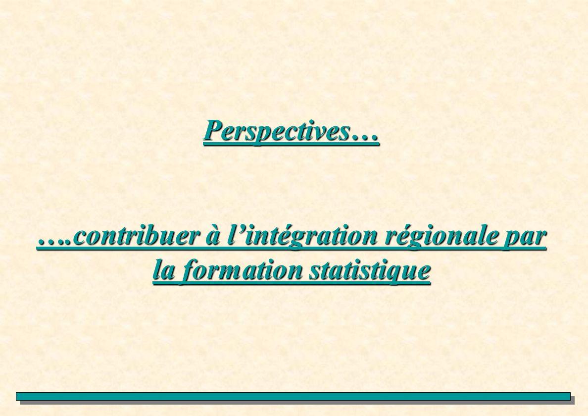 Perspectives… ….contribuer à lintégration régionale par la formation statistique