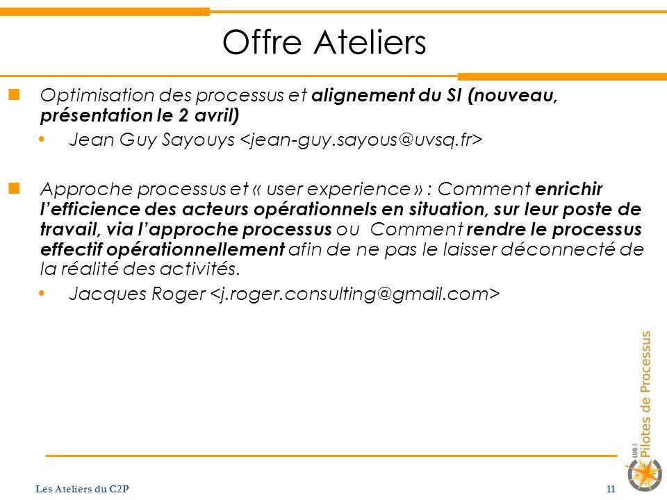 Offre Ateliers Optimisation des processus et alignement du SI (nouveau, présentation le 2 avril) Jean Guy Sayouys Approche processus et « user experie