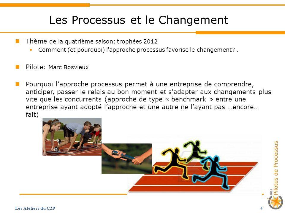 Les Processus et le Changement Thème de la quatrième saison: trophées 2012 Comment (et pourquoi) l'approche processus favorise le changement?. Pilote: