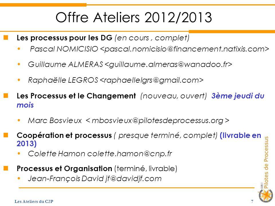Offre Ateliers 2012/2013 Les processus pour les DG (en cours, complet) Pascal NOMICISIO Guillaume ALMERAS Raphaëlle LEGROS Les Processus et le Changem