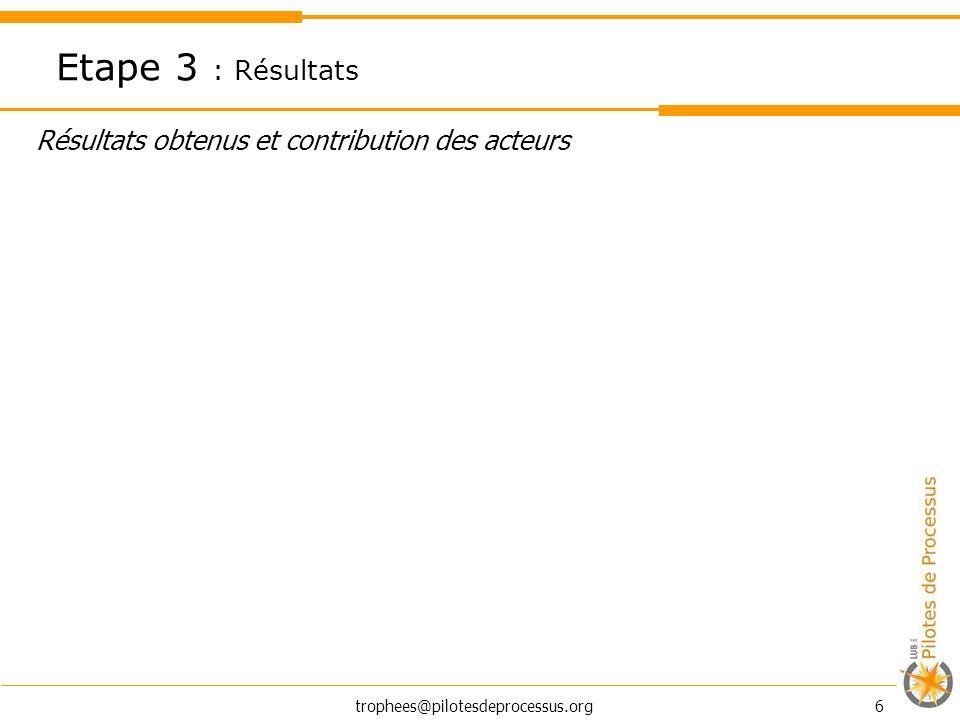 trophees@pilotesdeprocessus.org 6 Résultats obtenus et contribution des acteurs Etape 3 : Résultats
