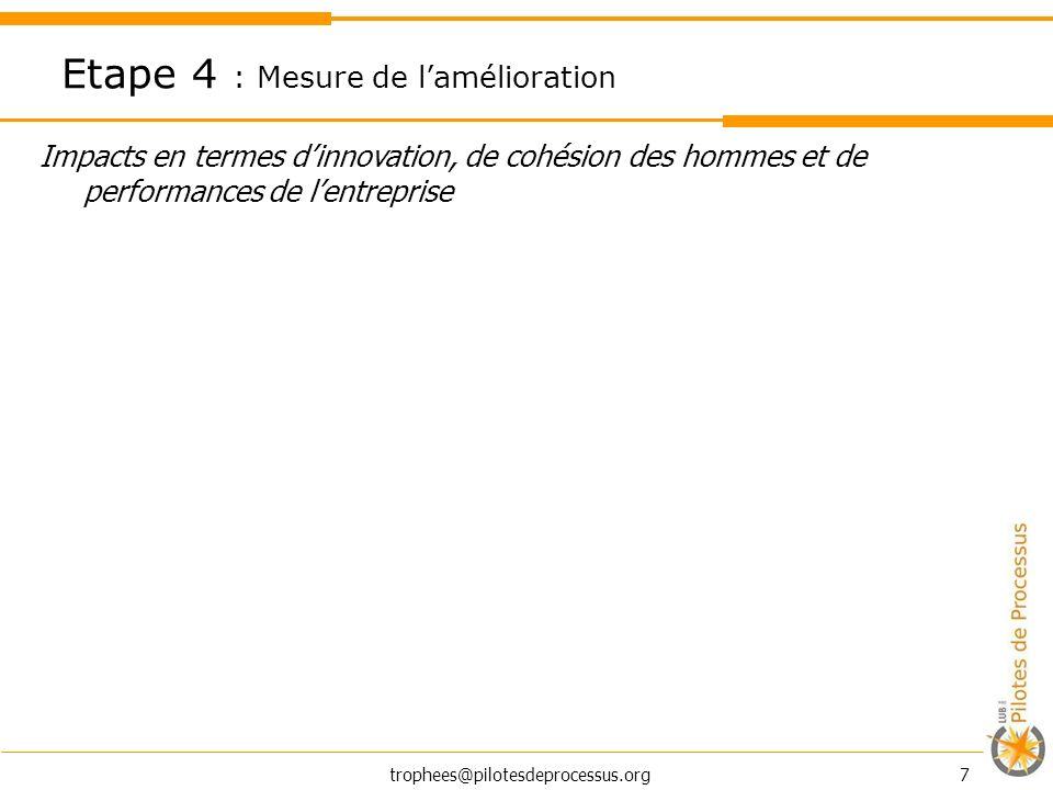 trophees@pilotesdeprocessus.org 7 Impacts en termes dinnovation, de cohésion des hommes et de performances de lentreprise Etape 4 : Mesure de lamélior