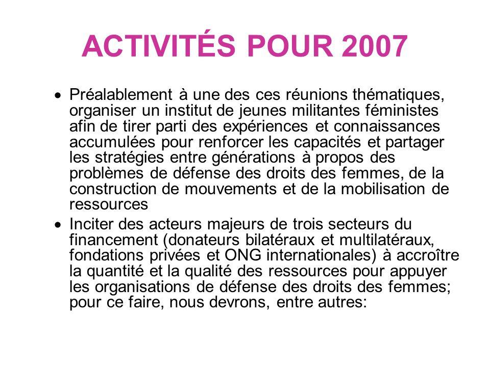 ACTIVITÉS POUR 2007 Renforcer notre relation stratégique avec le CAD/Gendernet de lOCDE afin davoir une influence sur le suivi du financement accordé aux organisations de femmes progressistes et de défense des droits des femmes et pour promouvoir une stratégies et des activités préliminaires pour inciter la réunion de lOCDE qui se tiendra en 2008 au Ghana à réviser la mise en oeuvre de la Déclaration de Paris sur lefficacité de laide Participer à lassemblée générale annuelle du Centre Européen des Fondations qui se tiendra à Madrid, tenir une réunion sur ce sujet et établir des relations avec les principaux acteurs de ce Centre.