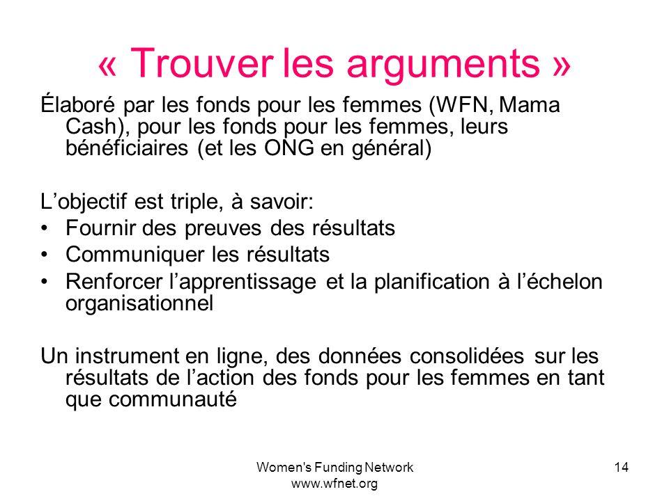 Women's Funding Network www.wfnet.org 14 « Trouver les arguments » Élaboré par les fonds pour les femmes (WFN, Mama Cash), pour les fonds pour les fem
