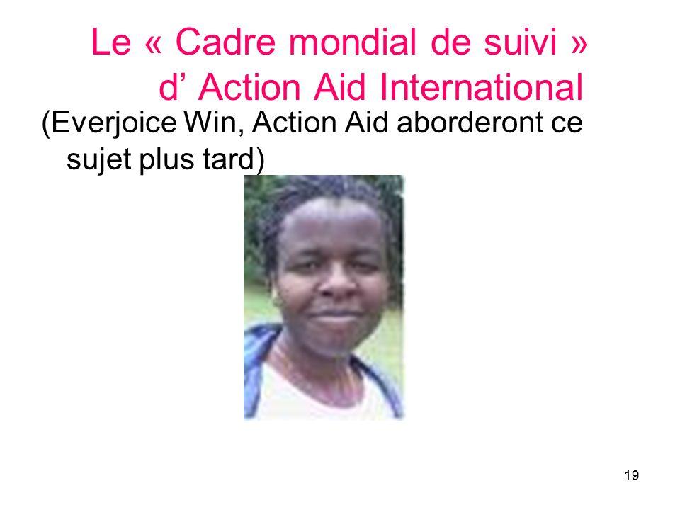 19 Le « Cadre mondial de suivi » d Action Aid International (Everjoice Win, Action Aid aborderont ce sujet plus tard)