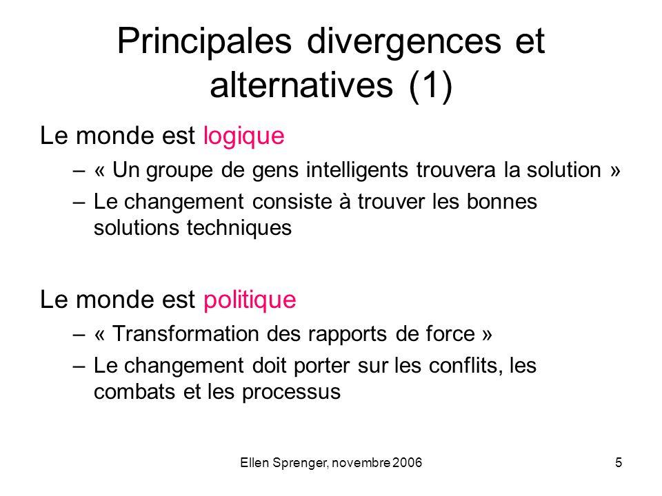 Ellen Sprenger, novembre 20065 Le monde est logique –« Un groupe de gens intelligents trouvera la solution » –Le changement consiste à trouver les bon