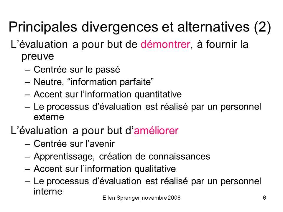 Ellen Sprenger, novembre 20066 Lévaluation a pour but de démontrer, à fournir la preuve –Centrée sur le passé –Neutre, information parfaite –Accent su