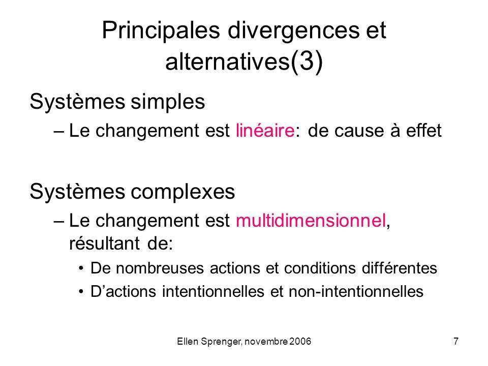 Ellen Sprenger, novembre 20067 Systèmes simples –Le changement est linéaire: de cause à effet Systèmes complexes –Le changement est multidimensionnel,