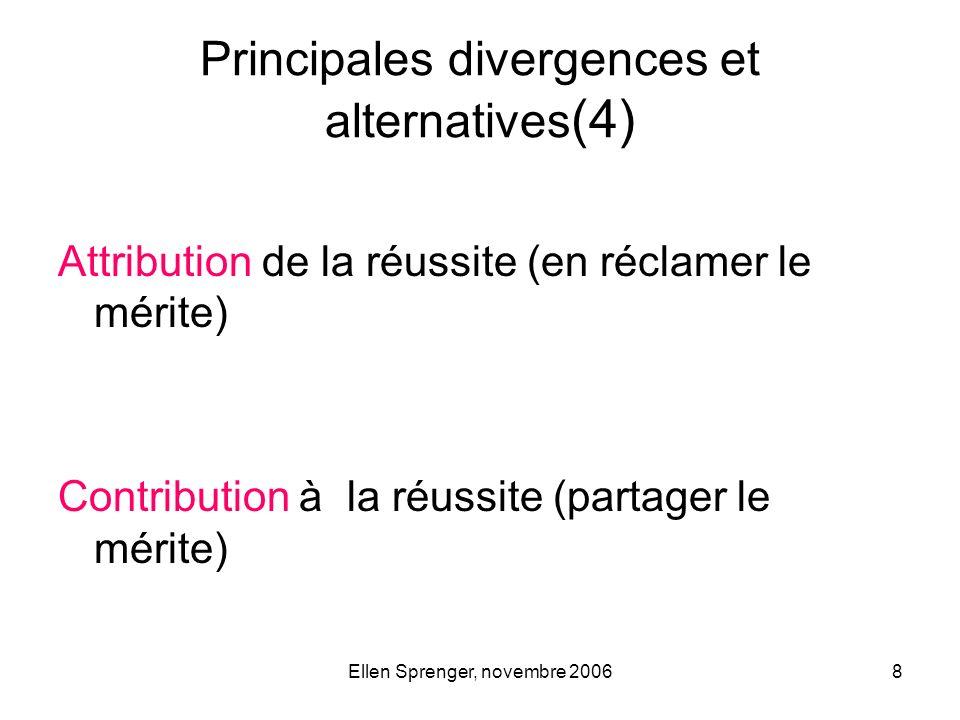 Ellen Sprenger, novembre 20068 Principales divergences et alternatives (4) Attribution de la réussite (en réclamer le mérite) Contribution à la réussi