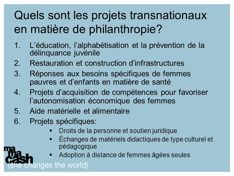 Quels sont les projets transnationaux en matière de philanthropie.