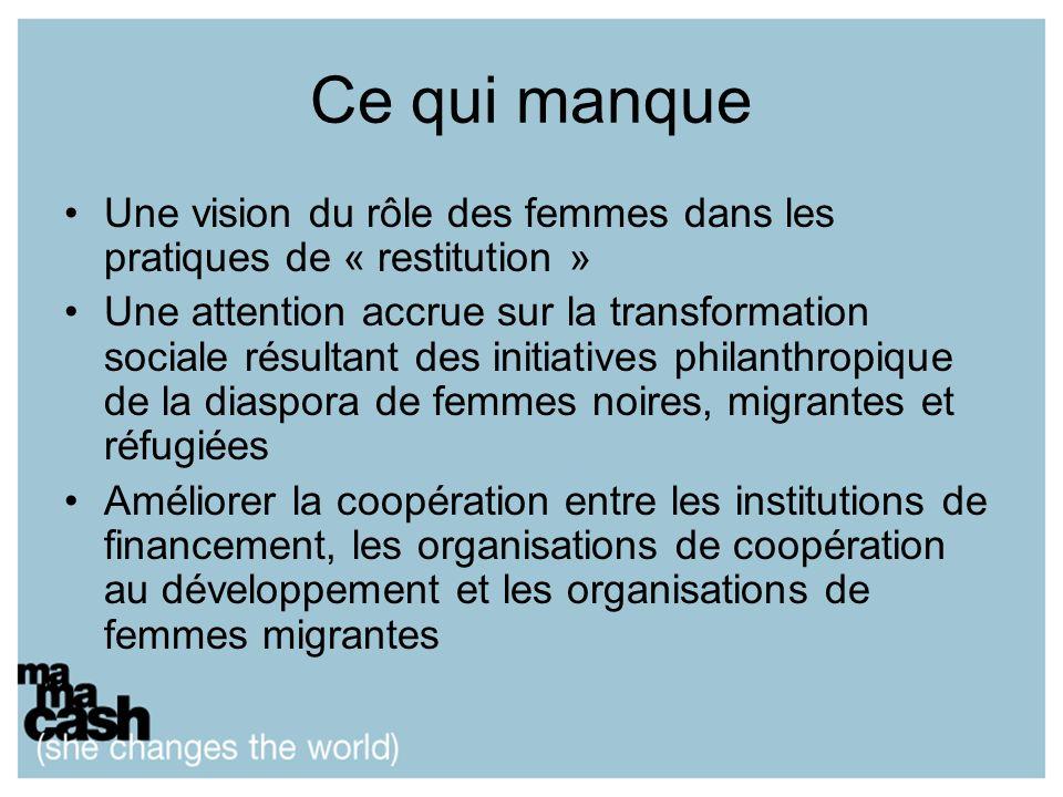 Ce qui manque Une vision du rôle des femmes dans les pratiques de « restitution » Une attention accrue sur la transformation sociale résultant des initiatives philanthropique de la diaspora de femmes noires, migrantes et réfugiées Améliorer la coopération entre les institutions de financement, les organisations de coopération au développement et les organisations de femmes migrantes