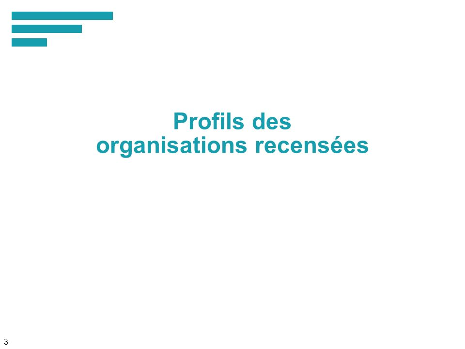 3 Profils des organisations recensées