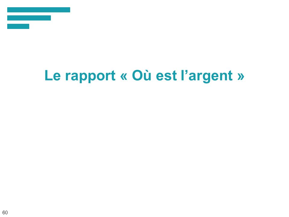 60 Le rapport « Où est largent »