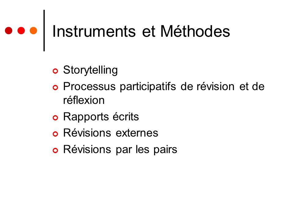Instruments et Méthodes Storytelling Processus participatifs de révision et de réflexion Rapports écrits Révisions externes Révisions par les pairs