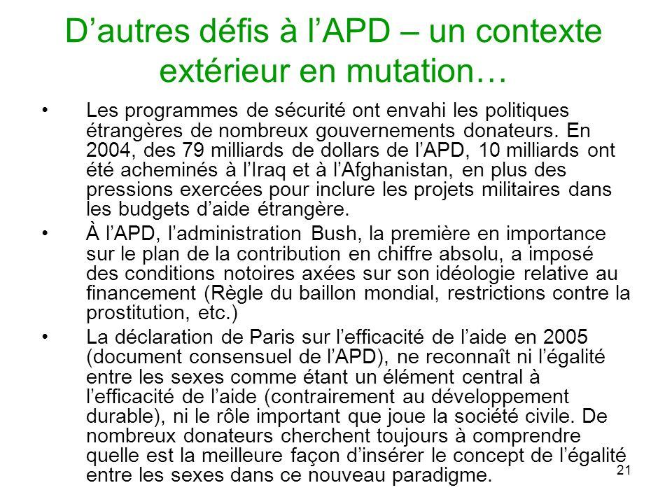 21 Dautres défis à lAPD – un contexte extérieur en mutation… Les programmes de sécurité ont envahi les politiques étrangères de nombreux gouvernements donateurs.