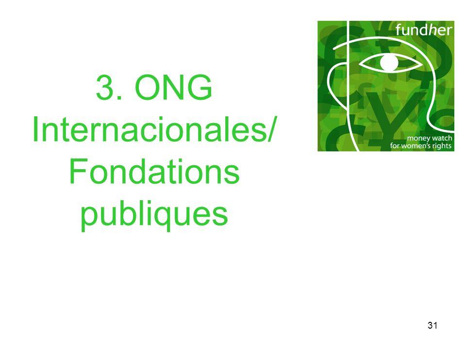 31 3. ONG Internacionales/ Fondations publiques