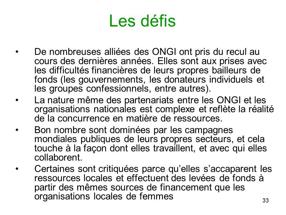 33 Les défis De nombreuses alliées des ONGI ont pris du recul au cours des dernières années.