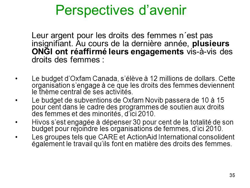 35 Perspectives davenir Leur argent pour les droits des femmes n´est pas insignifiant.