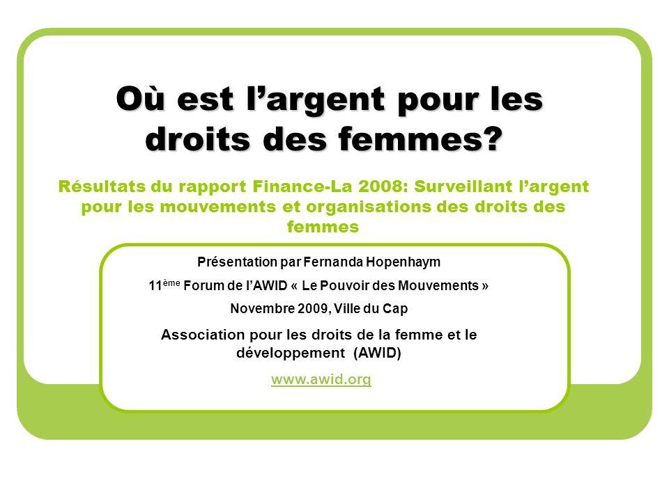 Partager des informations actualisés sur les profils organisationnels et les tendances de financement pour les organisations des droits des femmes.