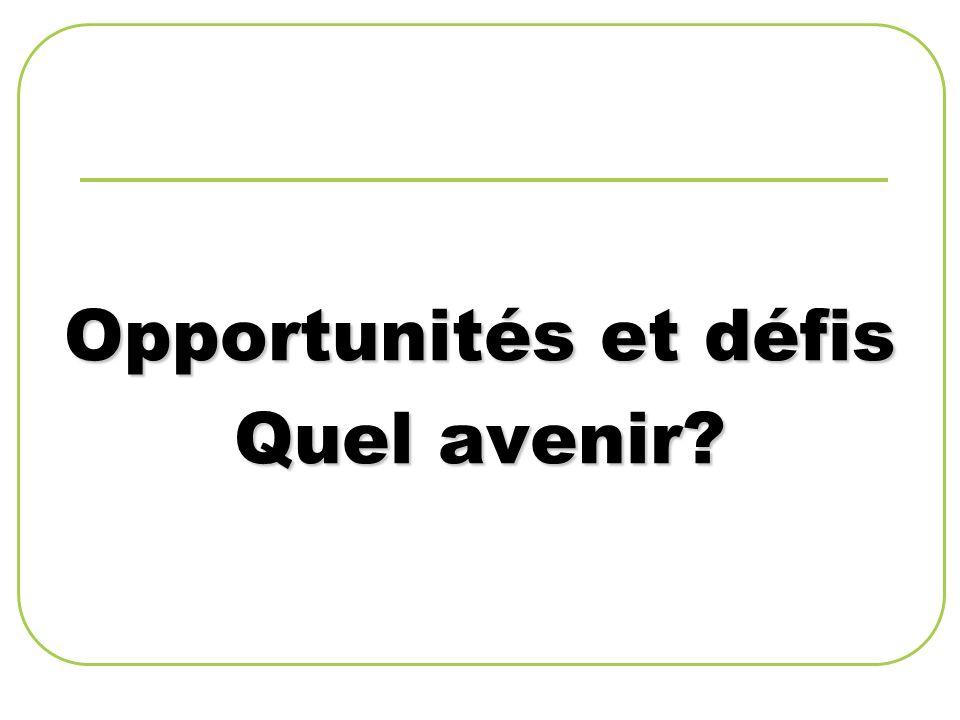 Opportunités et défis Quel avenir?