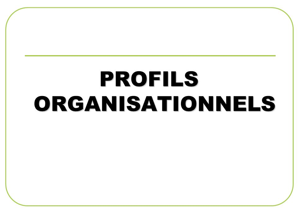 PROFILS ORGANISATIONNELS
