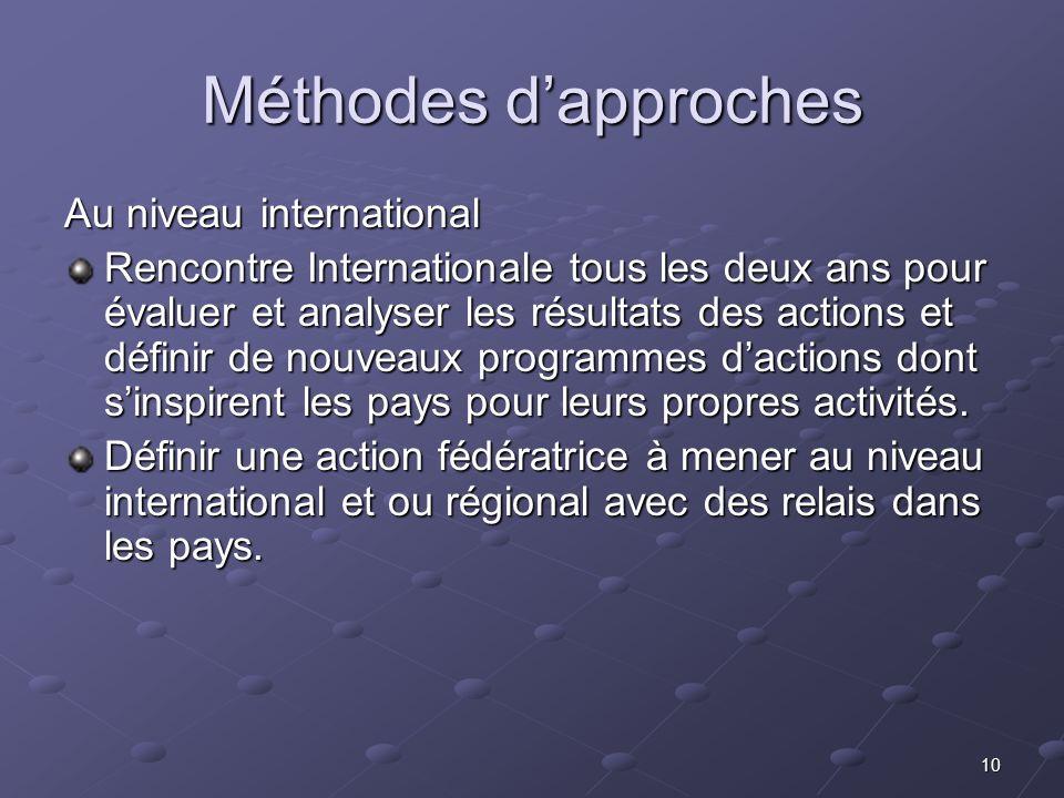 10 Méthodes dapproches Au niveau international Rencontre Internationale tous les deux ans pour évaluer et analyser les résultats des actions et défini