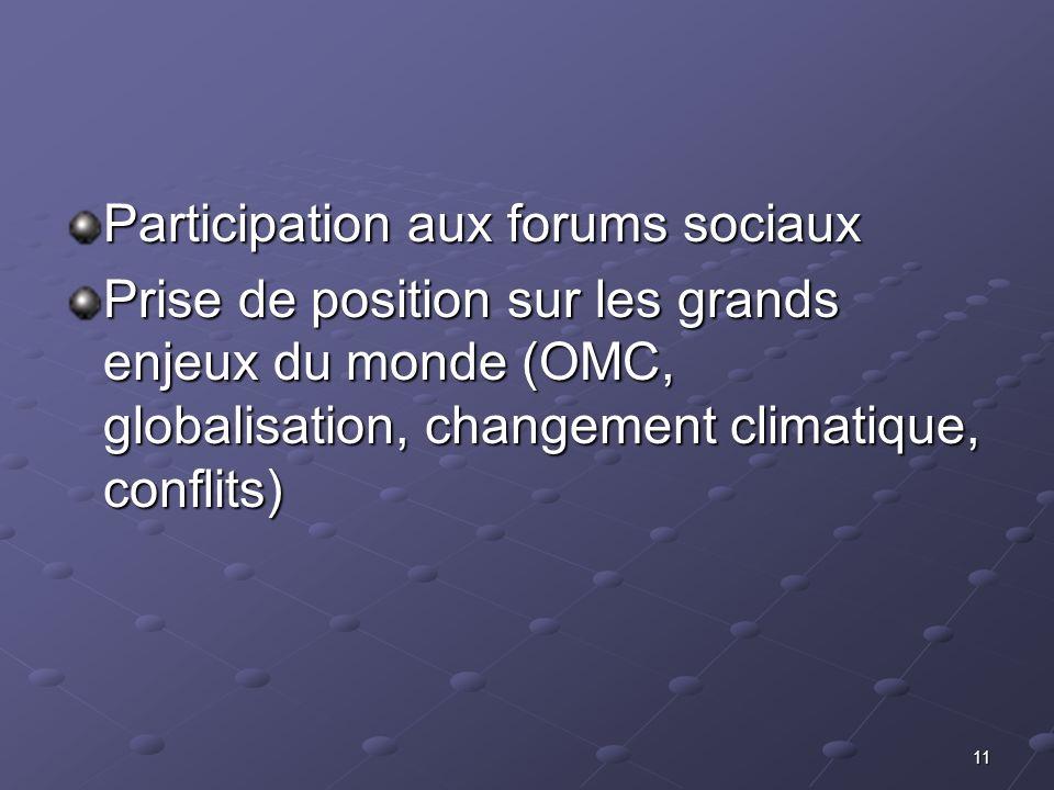 11 Participation aux forums sociaux Prise de position sur les grands enjeux du monde (OMC, globalisation, changement climatique, conflits)