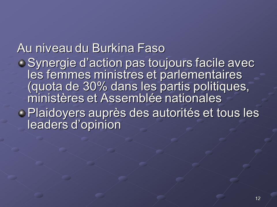 12 Au niveau du Burkina Faso Synergie daction pas toujours facile avec les femmes ministres et parlementaires (quota de 30% dans les partis politiques