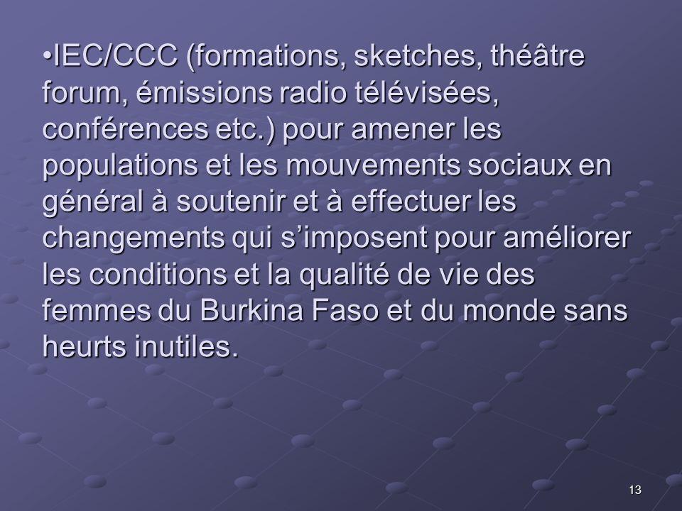 13 IEC/CCC (formations, sketches, théâtre forum, émissions radio télévisées, conférences etc.) pour amener les populations et les mouvements sociaux e