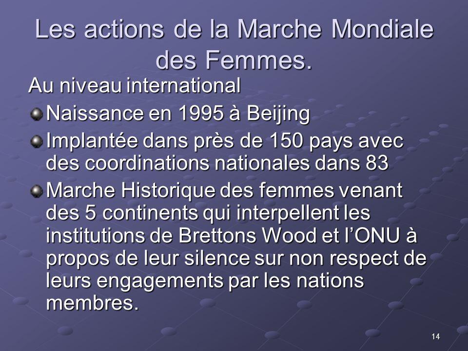 14 Les actions de la Marche Mondiale des Femmes. Au niveau international Naissance en 1995 à Beijing Implantée dans près de 150 pays avec des coordina