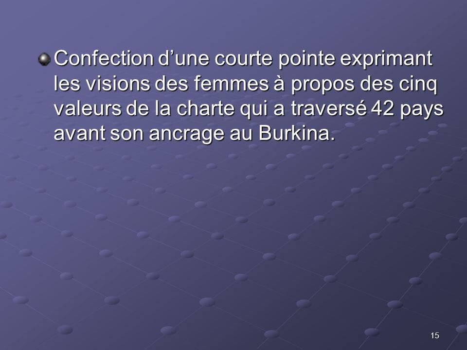 15 Confection dune courte pointe exprimant les visions des femmes à propos des cinq valeurs de la charte qui a traversé 42 pays avant son ancrage au B