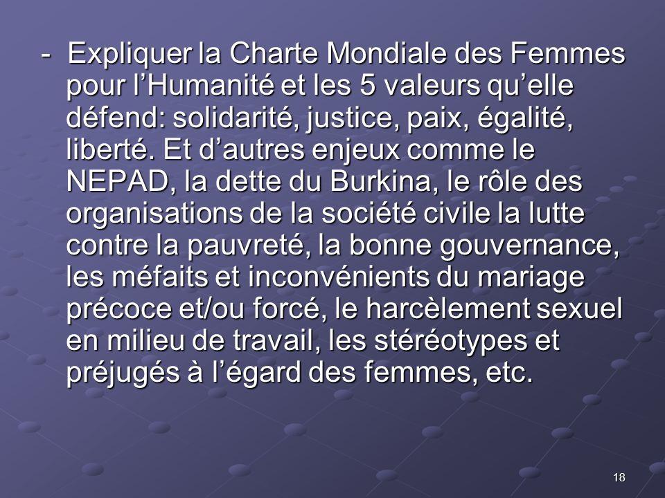 18 - Expliquer la Charte Mondiale des Femmes pour lHumanité et les 5 valeurs quelle défend: solidarité, justice, paix, égalité, liberté. Et dautres en