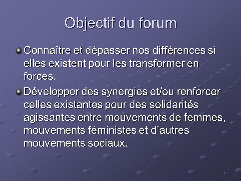 3 Féminisme selon la Marche Mondiale des Femmes (MMF) Pour la MMF le féminisme est: une pensée, un projet de société, une alternative, une autre façon de voir le monde