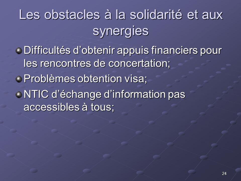 24 Les obstacles à la solidarité et aux synergies Difficultés dobtenir appuis financiers pour les rencontres de concertation; Problèmes obtention visa
