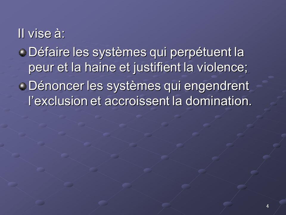 4 II vise à: Défaire les systèmes qui perpétuent la peur et la haine et justifient la violence; Dénoncer les systèmes qui engendrent lexclusion et acc