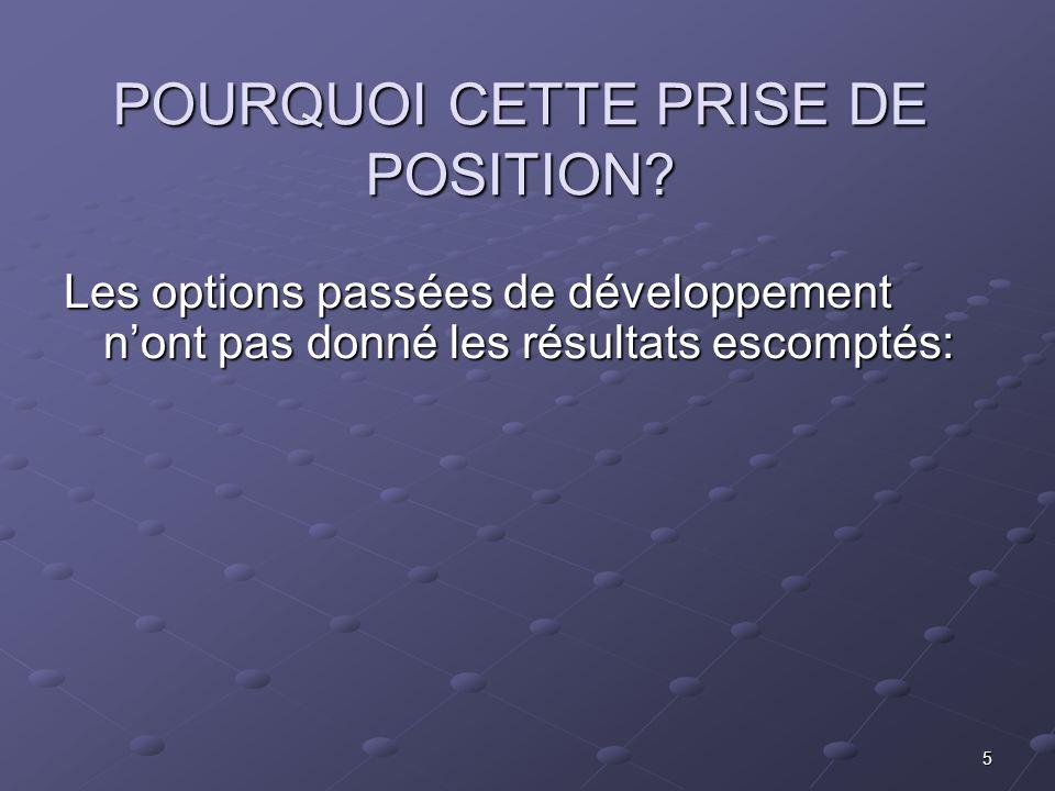 5 POURQUOI CETTE PRISE DE POSITION? Les options passées de développement nont pas donné les résultats escomptés: