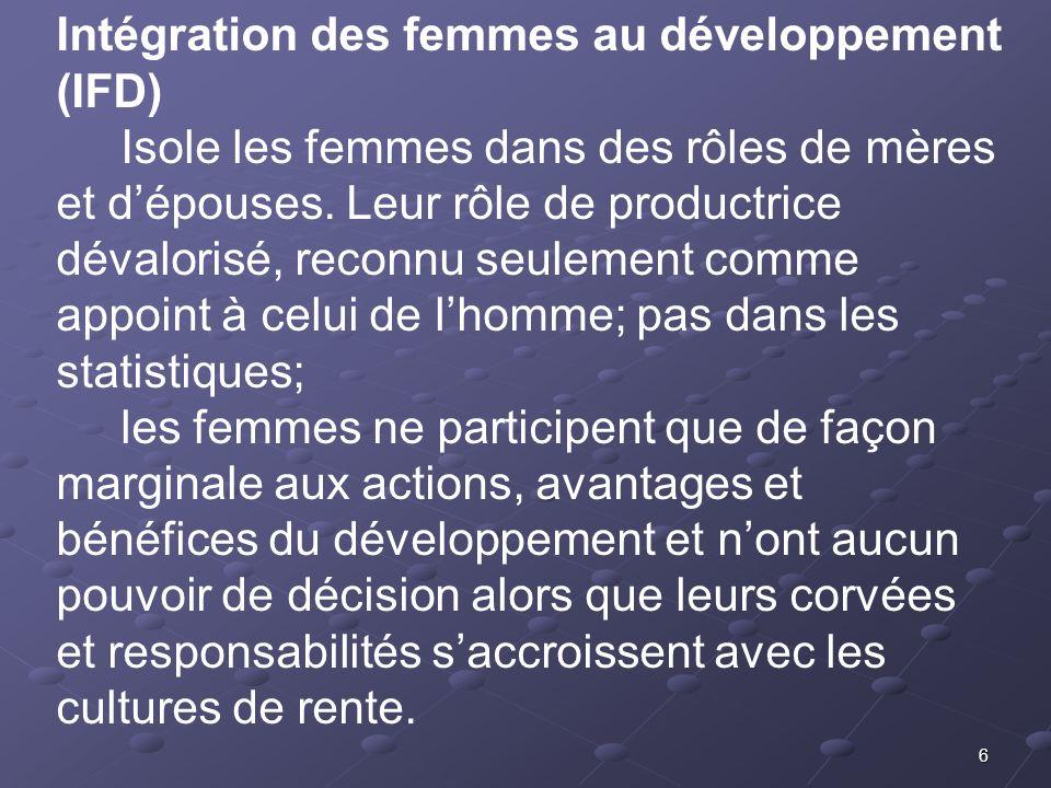 6 Intégration des femmes au développement (IFD) Isole les femmes dans des rôles de mères et dépouses. Leur rôle de productrice dévalorisé, reconnu seu