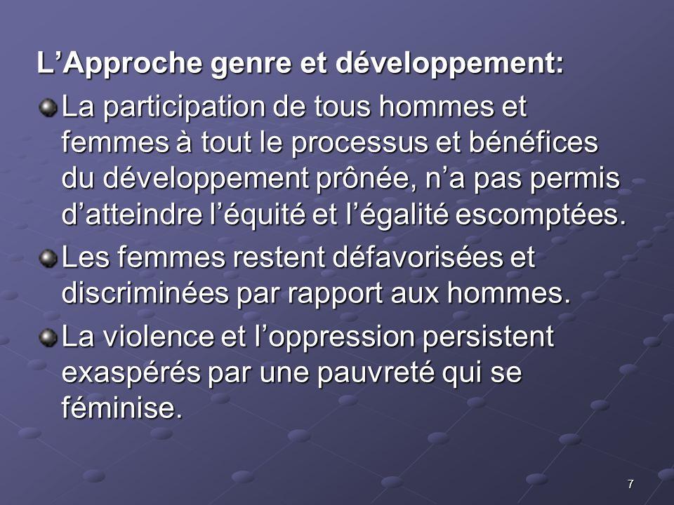 7 LApproche genre et développement: La participation de tous hommes et femmes à tout le processus et bénéfices du développement prônée, na pas permis