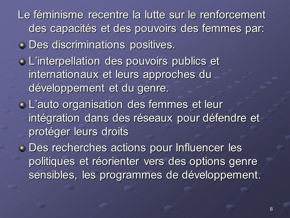 8 Le féminisme recentre la lutte sur le renforcement des capacités et des pouvoirs des femmes par: Des discriminations positives. Linterpellation des