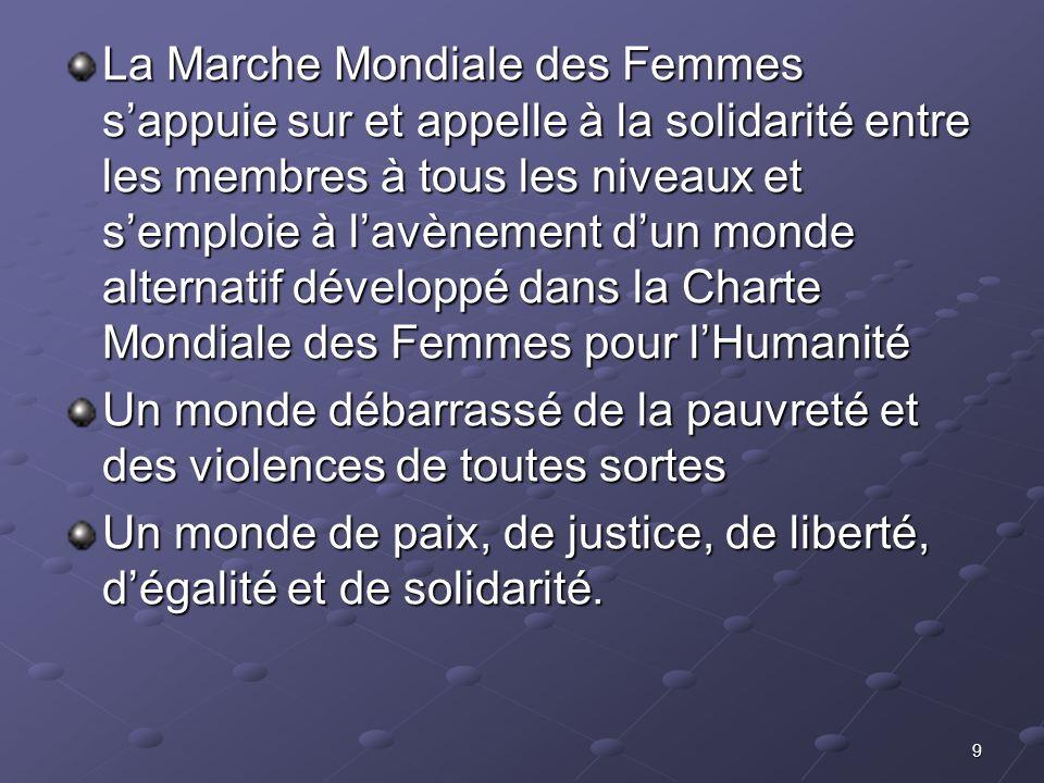 9 La Marche Mondiale des Femmes sappuie sur et appelle à la solidarité entre les membres à tous les niveaux et semploie à lavènement dun monde alterna