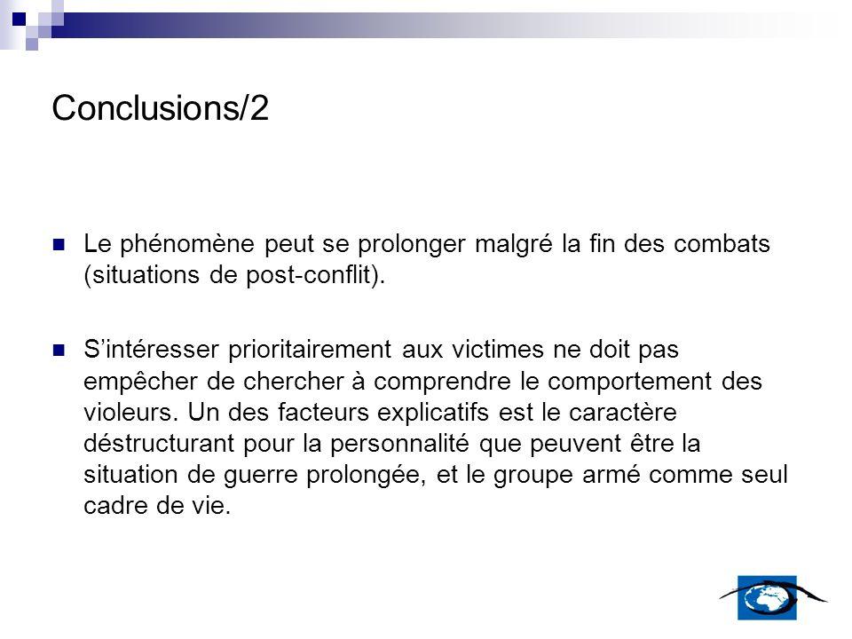 Conclusions/2 Le phénomène peut se prolonger malgré la fin des combats (situations de post-conflit). Sintéresser prioritairement aux victimes ne doit