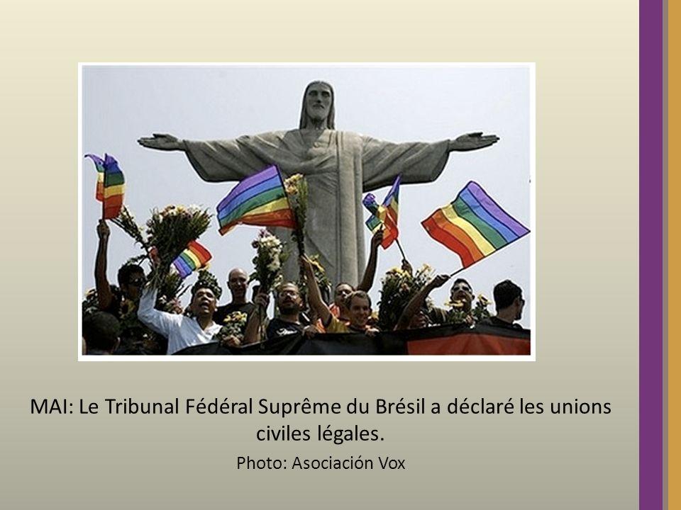 MAI: Le Tribunal Fédéral Suprême du Brésil a déclaré les unions civiles légales. Photo: Asociación Vox