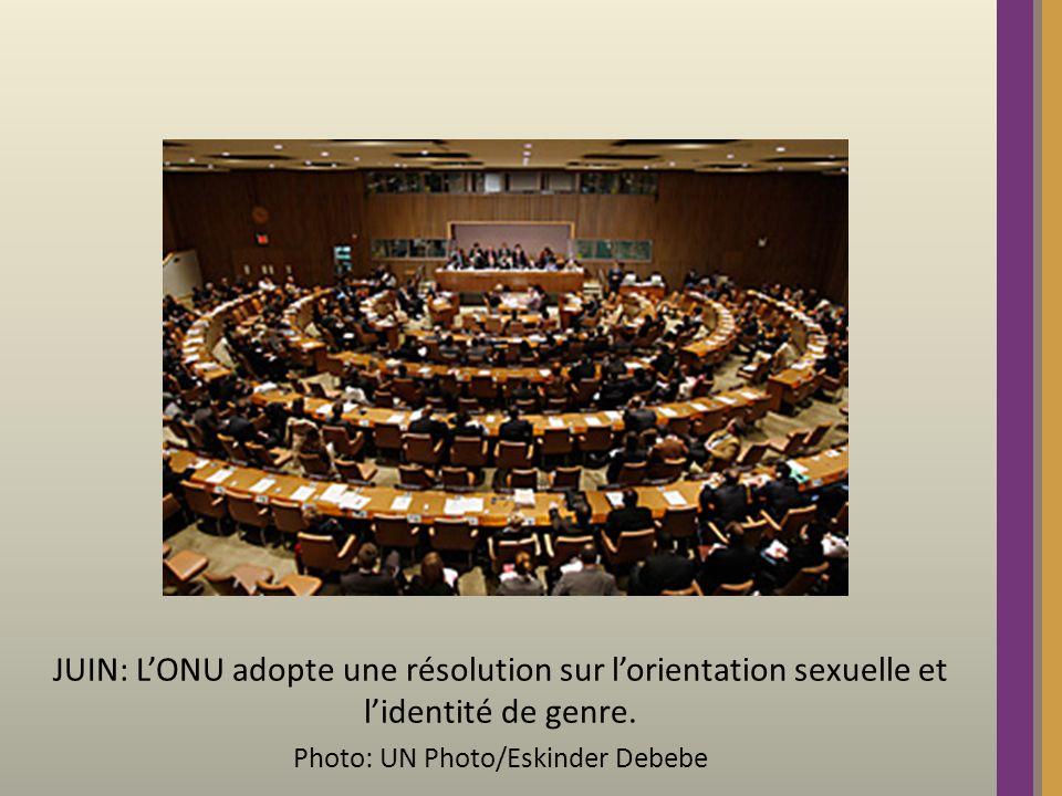 JUIN: LONU adopte une résolution sur lorientation sexuelle et lidentité de genre.