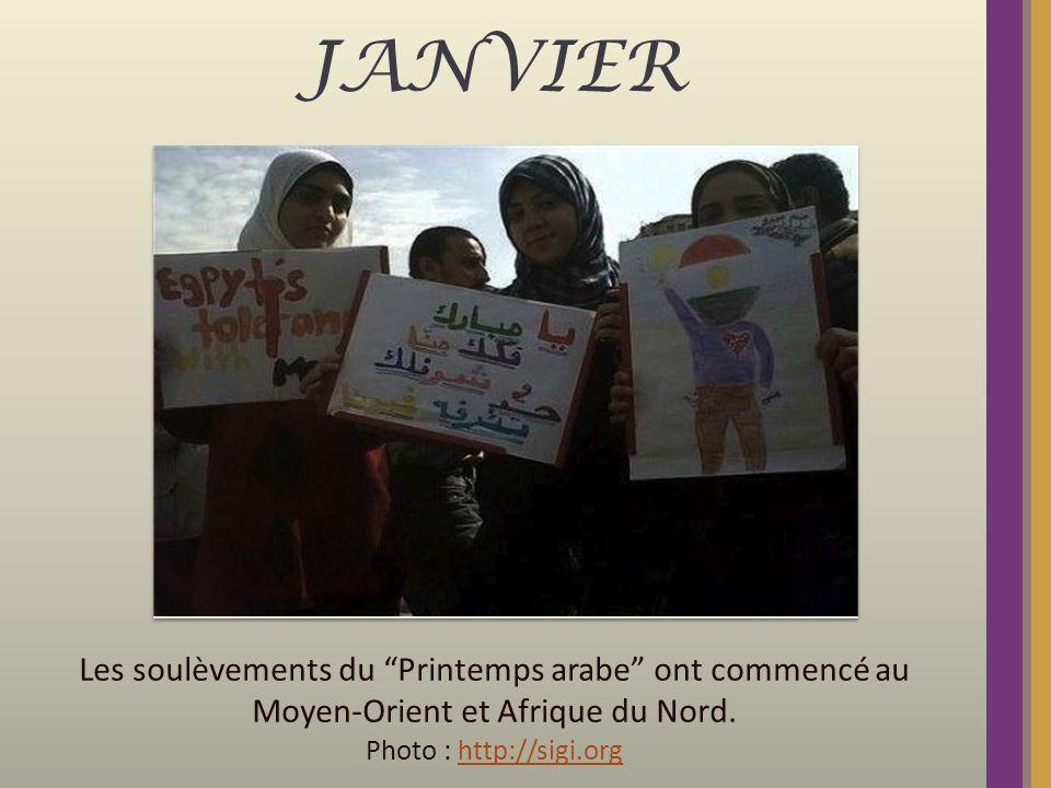 JANVIER Les soulèvements du Printemps arabe ont commencé au Moyen-Orient et Afrique du Nord. Photo : http://sigi.orghttp://sigi.org