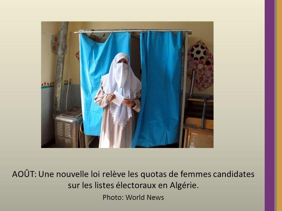 AOÛT: Une nouvelle loi relève les quotas de femmes candidates sur les listes électoraux en Algérie. Photo: World News