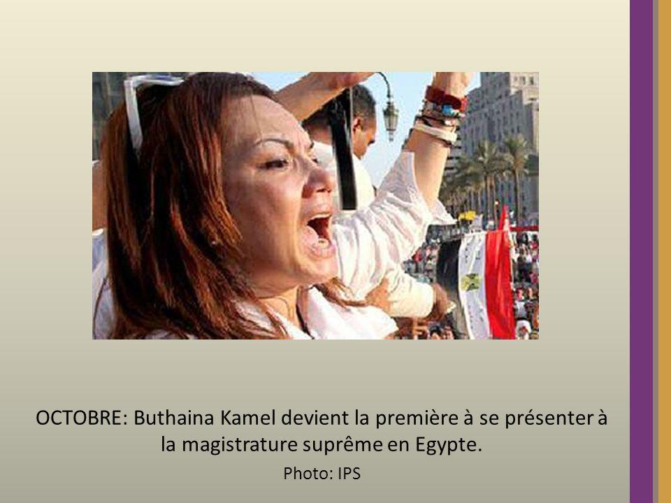 OCTOBRE: Buthaina Kamel devient la première à se présenter à la magistrature suprême en Egypte.